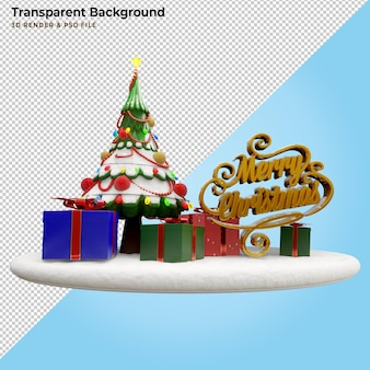 3d illustration merry christmas gift box and pine tree