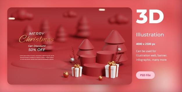 3dイラストレーションメリークリスマス、表彰台、ランプ、賞品ボックス付き、ウェブ、アプリ、バナーなどに使用