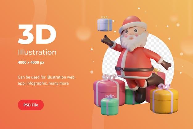3d иллюстрации с рождеством христовым, с дедом морозом и призами, для интернета, приложения, инфографики, рекламы