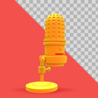 3d illustration minimalist microphone and cell phone for podcast clipping path