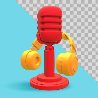 Illustrazione 3d. rendering minimalista di podcast con percorso di ritaglio di cuffie e microfono