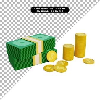 3d иллюстрации деньги и монеты