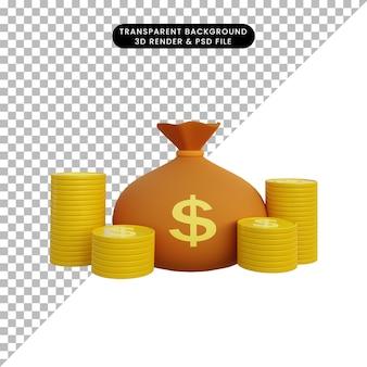 3d иллюстрации денежный мешок и стопка монет