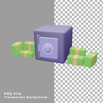 3d иллюстрации денежный сейф с долларами Premium Psd