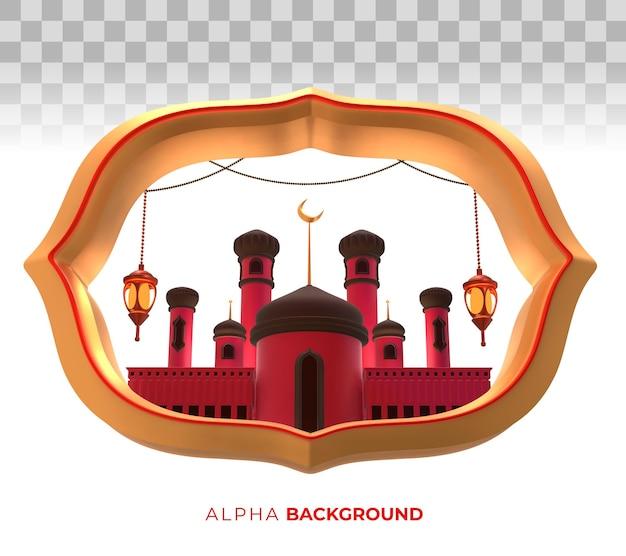 Illustrazione 3d. moschea del festival di muharram