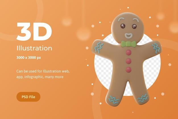 3dイラストオブジェクト、ジンジャーブレッドとメリークリスマス、ウェブ、アプリ、お祝い、広告などに使用