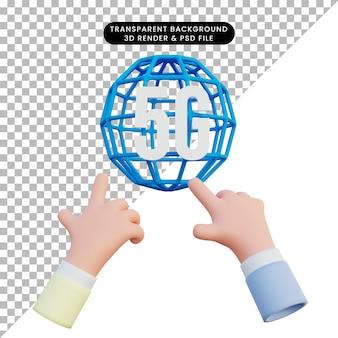 3d иллюстрации сети 5g с рукой, указывающей
