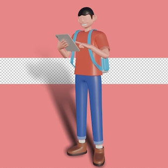 3d иллюстрации бизнесмена, играющего на планшете