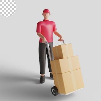 Иллюстрация 3d работника доставляющего покупки на дом в красной рубашке, несущей груз. премиум psd