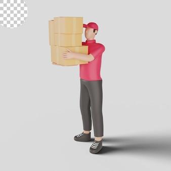 Иллюстрация 3d доставщика нося красную рубашку держа товары клиента. премиум psd