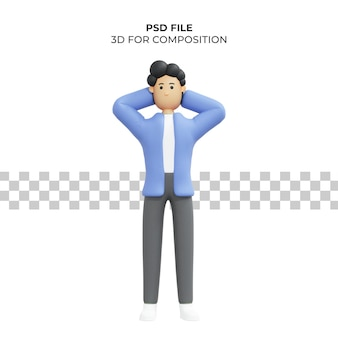 그의 머리를 들고 남자의 3d 일러스트 Premium Psd 프리미엄 PSD 파일
