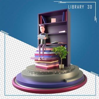 3d иллюстрации молодой человек читает книгу в библиотеке