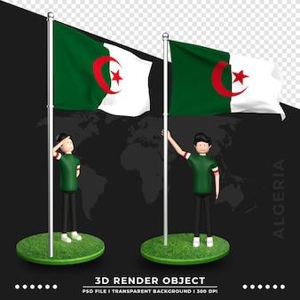 かわいい人々の漫画のキャラクターとアルジェリアの国旗の3dイラスト。 3dレンダリング。