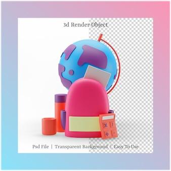 3d иллюстрации сумки и глобуса с концепцией обратно в школу