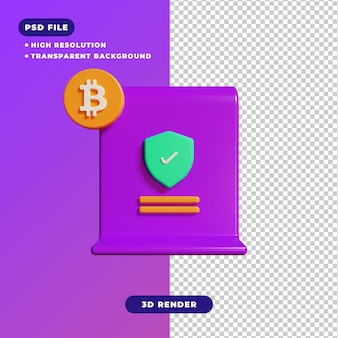 ビットコイン証明書アイコンの3dイラスト