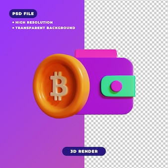 3d иллюстрации значка биткойн-кошелек