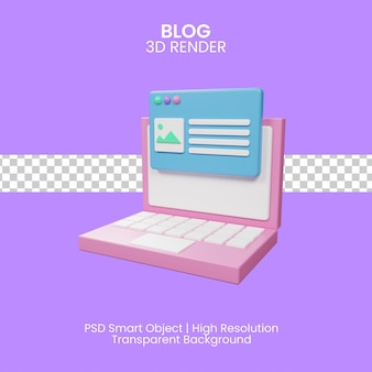 3d иллюстрации концепции сообщения в блоге