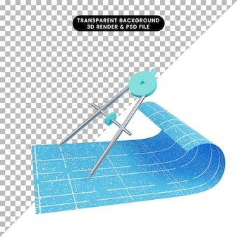 3d иллюстрация план бумаги с шкалой орлеона