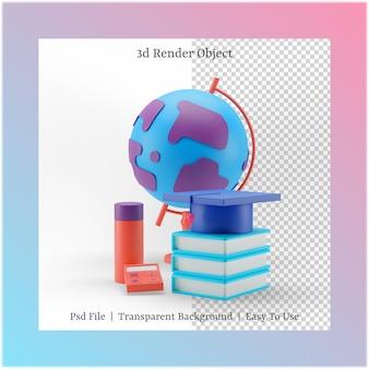 3d иллюстрации книги и выпускной шляпы с концепцией обратно в школу
