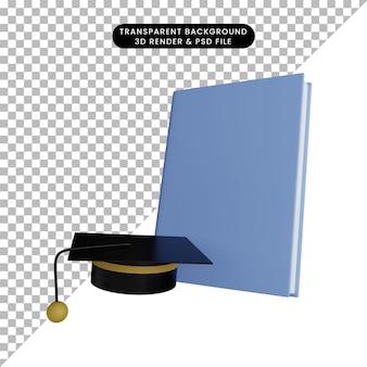 토가 모자와 책의 3d 일러스트