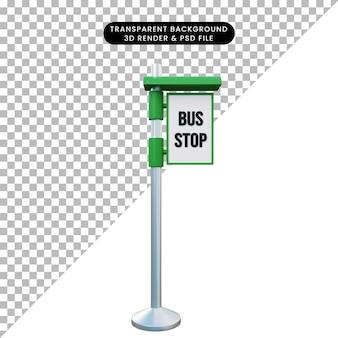 バスの一時停止の標識の3dイラスト