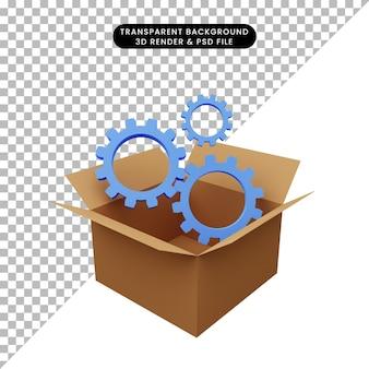 3d иллюстрации картона со значком шестеренки