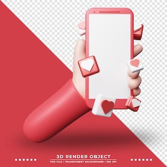 스마트폰을 들고 만화 손의 3d 그림입니다. 기술 그림입니다. 3d 렌더링.