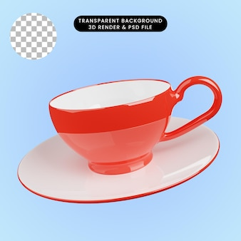 3d иллюстрации керамической чашки чая