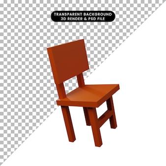 3d иллюстрации стул простой объект
