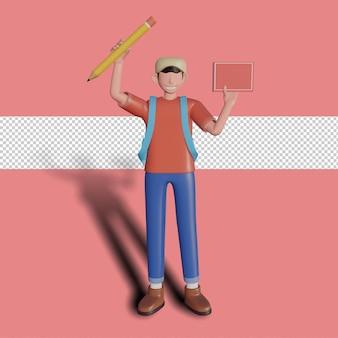 本と鉛筆を保持しているキャラクターの3dイラスト