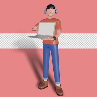 3d иллюстрации персонажа, показывающего устройство спереди