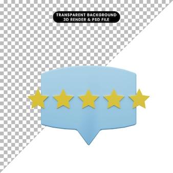 등급 별과 채팅 거품의 3d 그림