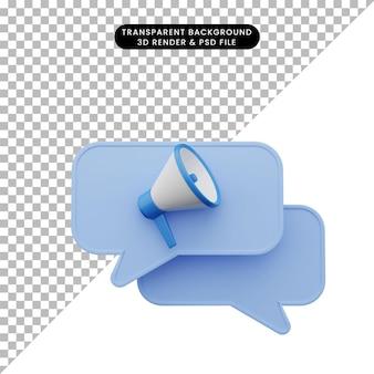 확성기와 채팅 아이콘의 3d 그림