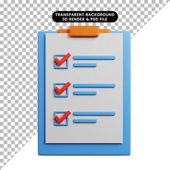 종이와 함께 보드에 체크리스트 개념의 3d 그림