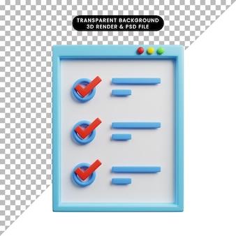 체크리스트 개념 ui 웹의 3d 일러스트