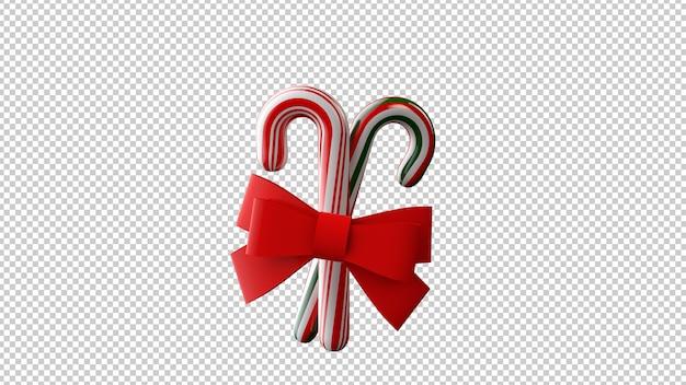 赤い弓とクリスマスのお菓子の3dイラスト