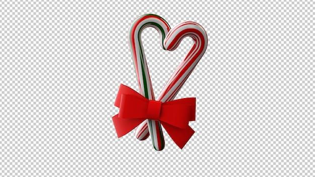 赤い弓とクリスマスのお菓子の3dイラスト Premium Psd