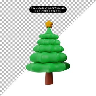 크리스마스 장식 간단한 개체 크리스마스 트리의 3d 일러스트