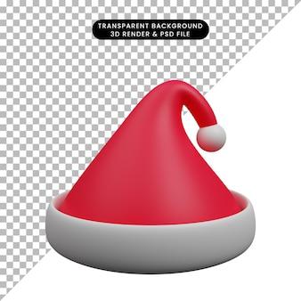 크리스마스 장식 간단한 개체 산타 모자의 3d 일러스트