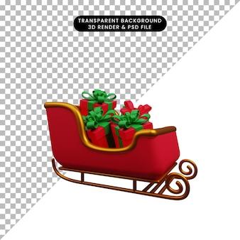 선물 상자와 산타의 크리스마스 장식 간단한 개체 썰매의 3d 그림