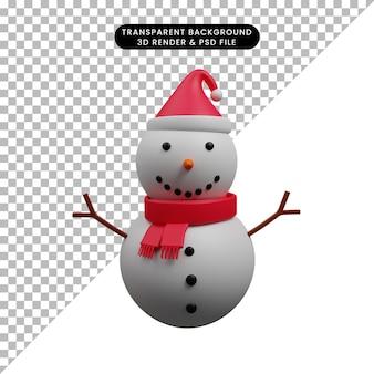 산타 모자를 쓰고 크리스마스 장식 간단한 개체 눈사람의 3d 일러스트 크리스마스 장식 간단한 개체 눈사람 산타 모자를 쓰고의3d 일러스트