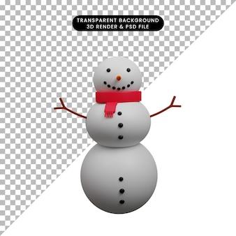 크리스마스 장식 간단한 개체 눈사람의 3d 일러스트