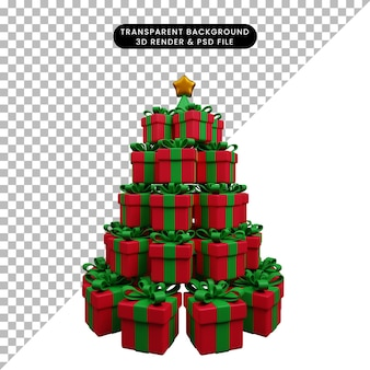 스타와 함께 선물 상자의 크리스마스 장식 간단한 개체 스택의 3d 그림