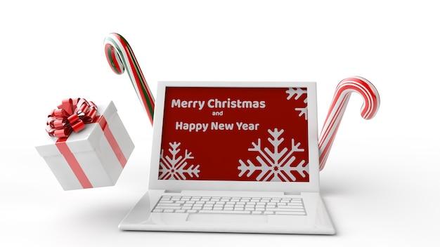 크리스마스 노트북 모형의 3d 일러스트