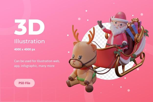 웹, 앱, 인포그래픽 등에 사용되는 산타, 마차, 순록이 있는 크리스마스의 3d 그림