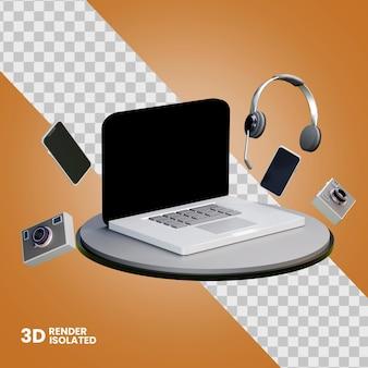 コンピューターのスマートフォンと分離されたカメラの 3 d イラストレーション