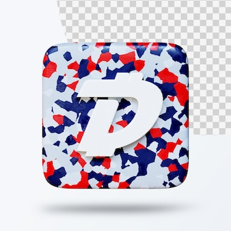 3d иллюстрации логотипа символа криптовалюты Premium Psd