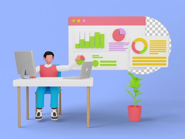 3d-иллюстрация графика анализа данных для вашего веб-сайта или целевой страницы