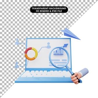 3d иллюстрации отчета об анализе данных на ноутбуке