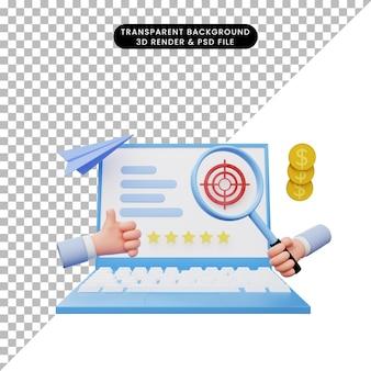 노트북에 데이터 분석 보고서의 3d 그림